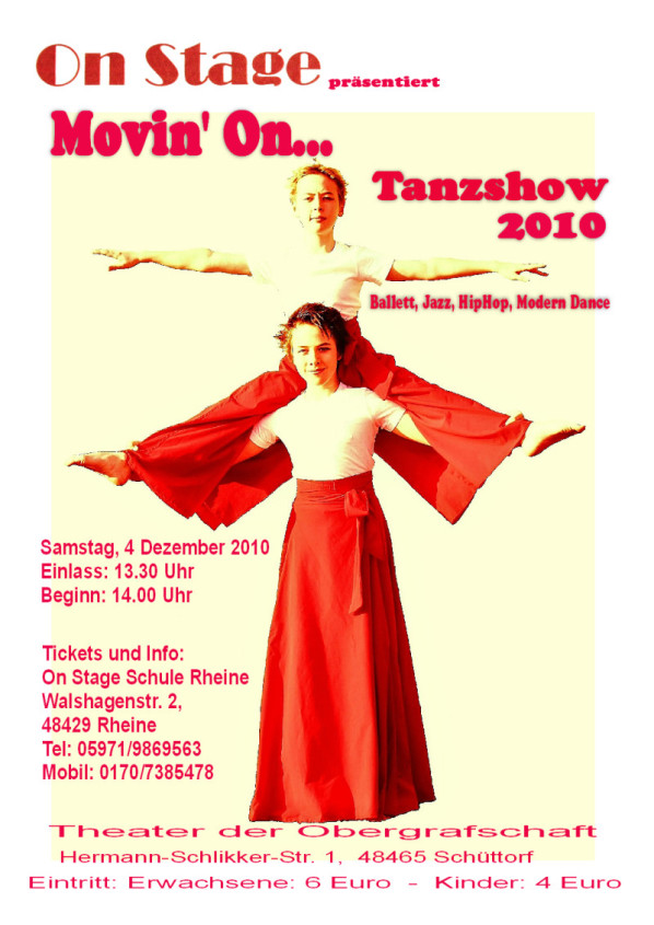 Movin on Tanzshow 2010, Plakat, Poster, Flyer, Rheine, Tanzschule